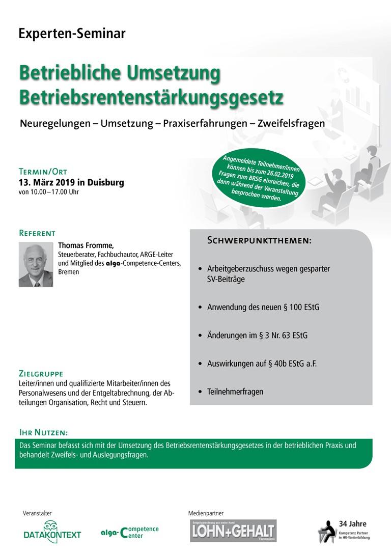 Betriebliche Umsetzung Betriebsrentenstärkungsgesetz