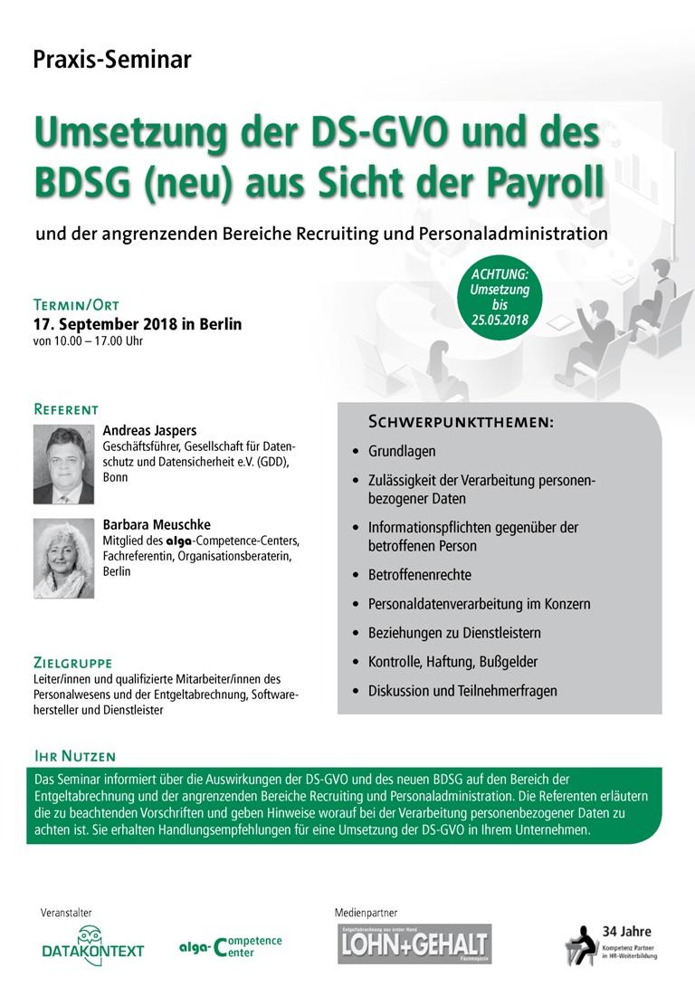 Umsetzung der DS-GVO und des BDSG (neu) aus Sicht der Payroll